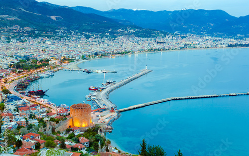 Aerial sunset view of Alanya, Turkey Canvas Print