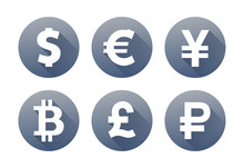 Set Of Currency Icons With Sha...