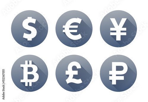 Fototapeta Set of currency icons with shadow obraz