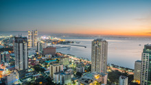 Beautiful Manila City Shore Manila Bay Skyline During Sunset