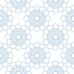 Abstract geometric pattern. Light blue and white seamless background. Stylized kaleidoscope pattern. Vector background