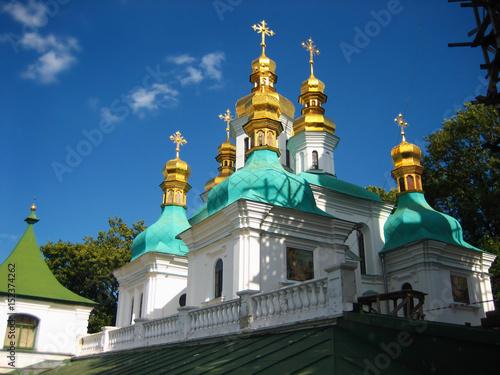Foto op Plexiglas Kiev Kiev Pechersk Lavra church over blue sky