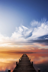 Obraz na SzkleSteg bei Sonnenuntergang