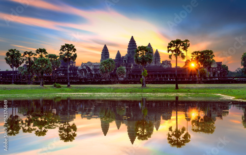 Angkor Wat at sunrise, famous temple at Siem Reap, Cambodia. Canvas Print