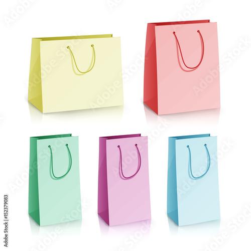 blank paper bag template vector set multicolor paper bag 3d