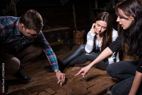 Young people trying to solve a conundrum to get out of the trap Canvas Print