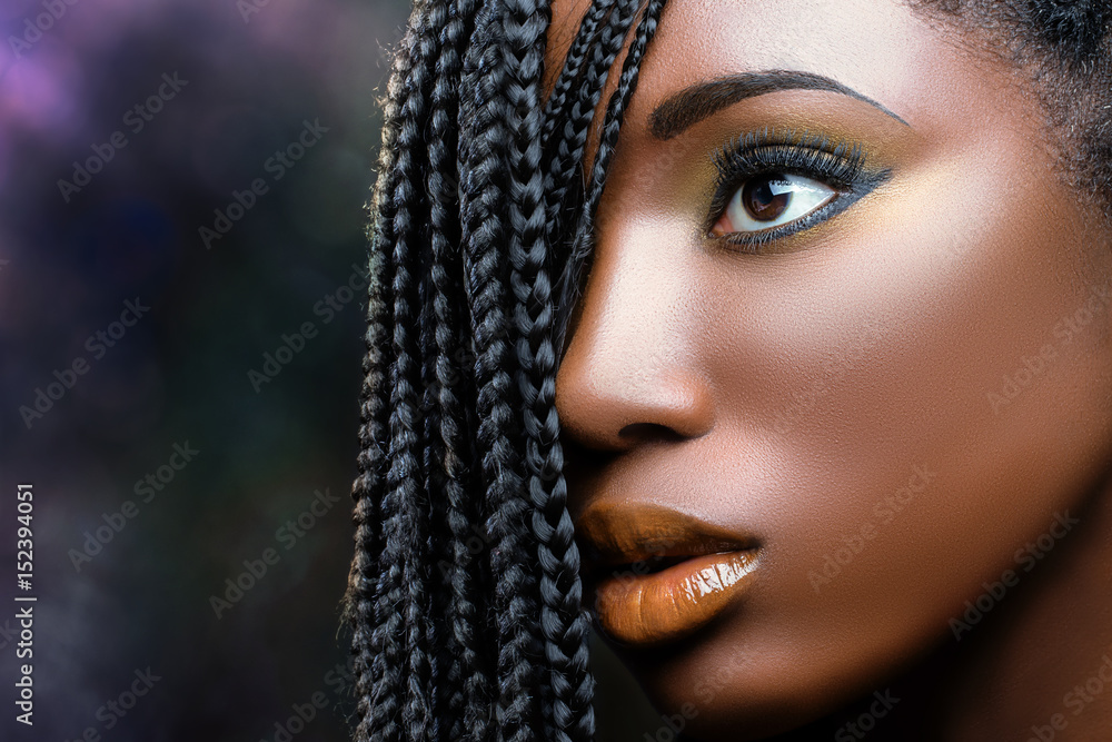 Fototapety, obrazy: African beauty female face with braids .