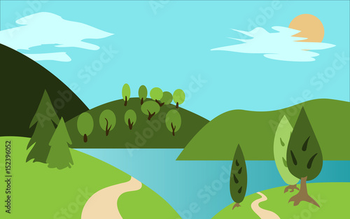 Summer landscape with hills, trees and river