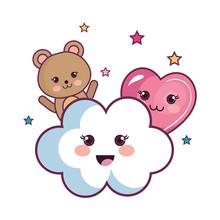 Kawaii Bear With Cloud And Hea...