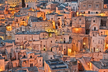 Fototapeta Miasta Matera, Basilicata, Italy: view at sunrise of the old town