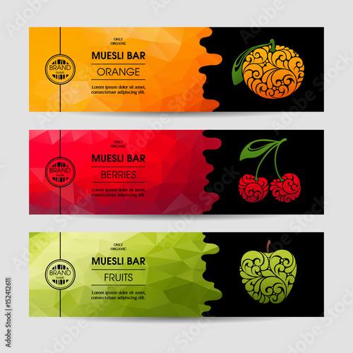 Vector set of templates packaging muesli bar - 152412611