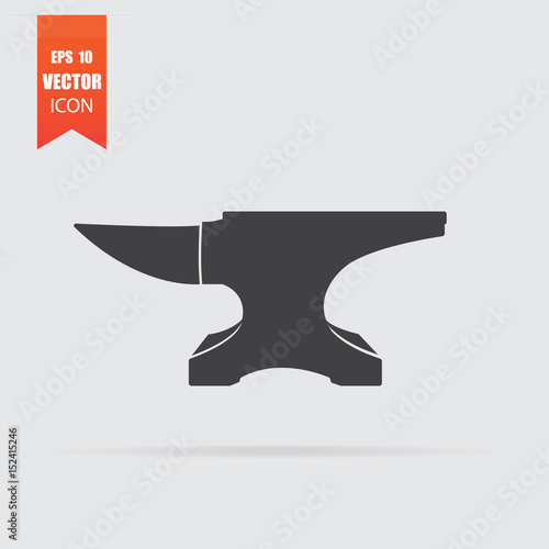 Photo Anvil icon in flat style isolated on grey background.