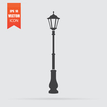Street Light Icon In Flat Style Isolated On Grey Background.