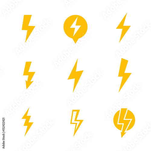 Lightning bolt, electricity warning vector signs over white Wall mural