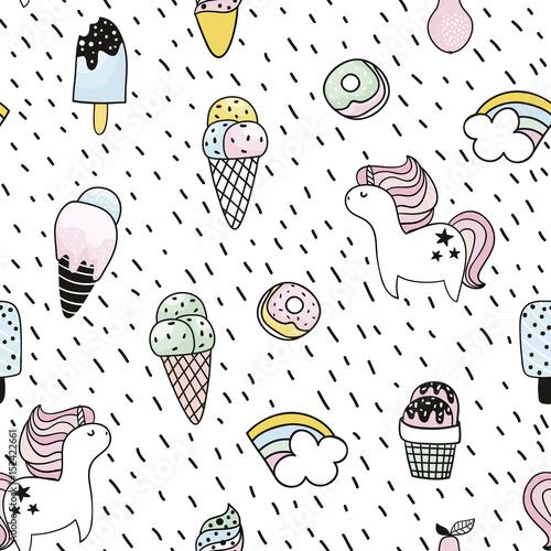 Cotton fabric Creative seamless pattern with unicorn, donut, ice cream,rainbow. Doodle childish background. Vector Illustration