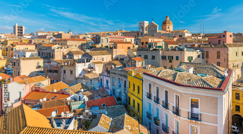 Cagliari - Sardinia, Italy: Cityscape of the old city center in the capital of S Wallpaper Mural