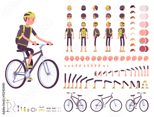 Fotomural  Male cyclist character creation set