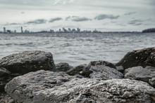 Rocky Seashore And Dark Stormy...