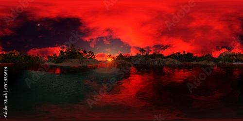 Deurstickers Rood beautiful 360 panorama of a palms beach of an island