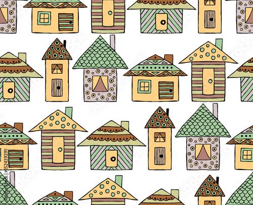 wektor-recznie-rysowane-bez-szwu-desen-dekoracyjne-stylizowane-domy-dziecinne-doodle-styl-ilustracja-graficzna-ozdobne-slodkie-strony-rysunek-w-brazowych-kolorach-seria-doodle-kreskowki-szkic-ilustracji