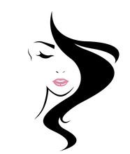 Women Long Hair Style Icon, Logo Women Face On White Background