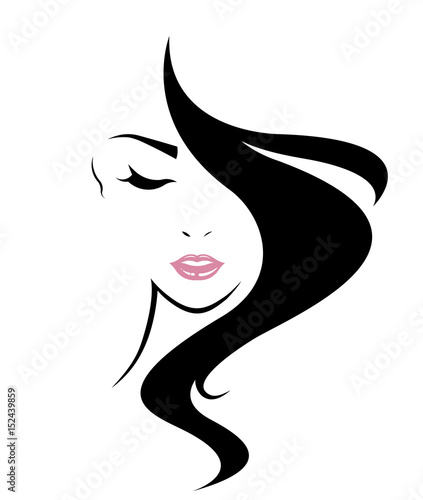 women long hair style icon, logo women face on white background Wall mural