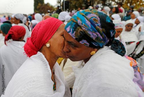 Members of the israeli ethiopian community greet each other during a members of the israeli ethiopian community greet each other during a ceremony marking the ethiopian jewish m4hsunfo