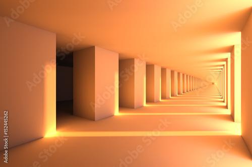 Fototapeta design element. 3D illustration. rendering. futuristic interior. empty corridor at sunset