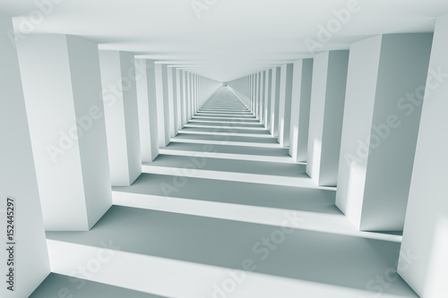 design element. 3D illustration. rendering. futuristic interior. empty corridor, black and white