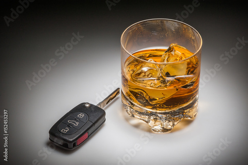 Drinking and driving concept with whiskey and car keys Wallpaper Mural