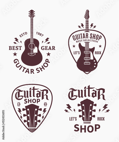 Photo  Vector guitar shop logo