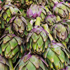 FototapetaFresh artichokes in a market