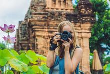 Woman Tourist In Vietnam. Po N...