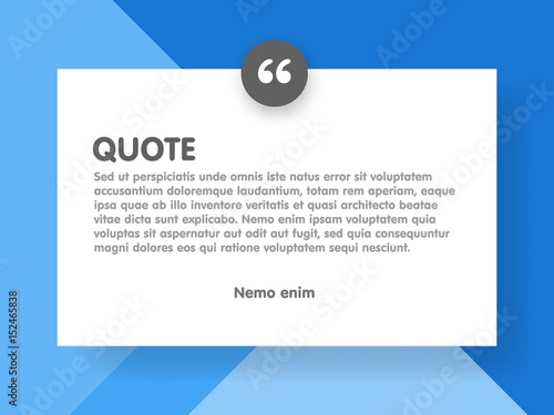 Material design style background and quote rectangle with sample text informatio Fototapeta