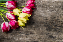 Red And Yellow Tulips On Rustic Wooden Background With Copy Space