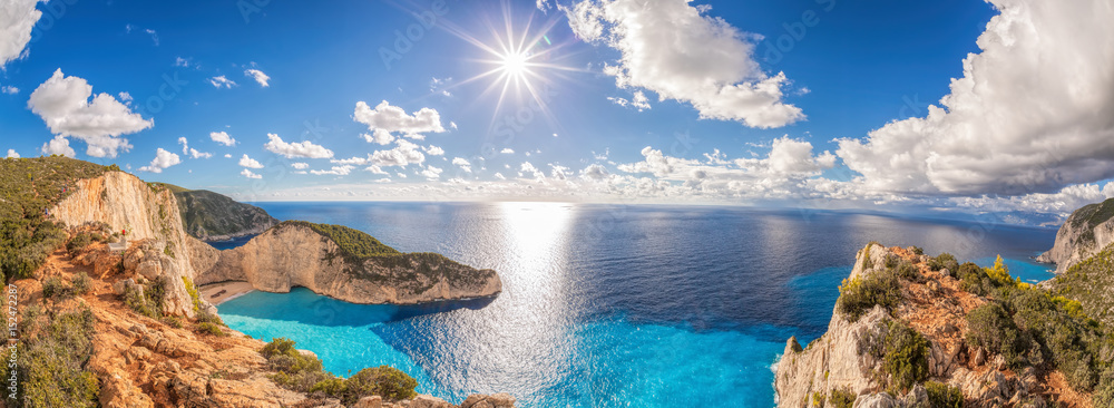 Fototapeta Beautiful Navagio beach with shipwreck on Zakynthos island in Greece