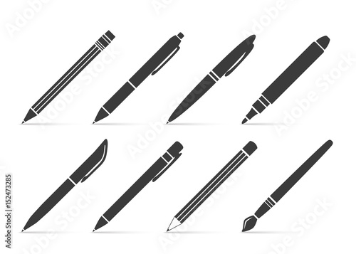 Photo Collection of vector icons for writing and artistic tools: pen, pencil, marker,