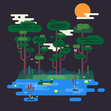 A Beautiful Vector Illustration Of Swamp At Night With Crocodile, Owl, Flies, Cattails And More.