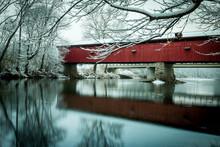 Covered Bridge In Winter