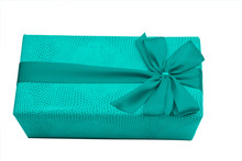 Blue Gift Box With Ribbon And ...