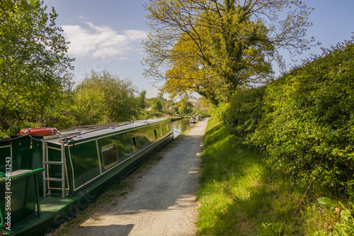 Staande foto Kanaal A narrowboat moored up on a Summer evening on the Llangollen canal in Wales