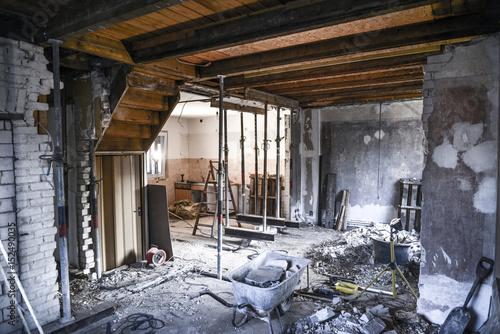 Fotografie, Obraz  Sanierung * Wohnzimmer Kernsanierung4