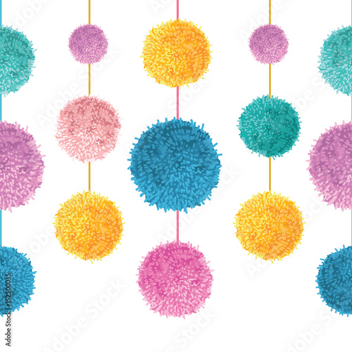Fototapeta Vector Colorful Birthday Party Pom Poms On Strings Set Horizontal Seamless Repeat Border Pattern Great For Handmade Cards Invitations
