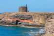 Castle Castillo de las Coloradas on cliff in Playa Blanca, Lanzarote, Canary Islands, Spain