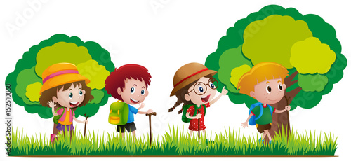 Deurstickers Regenboog Kids hiking in the forest