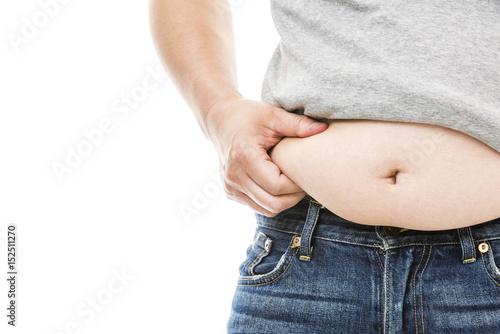 Fotografie, Obraz  お腹の贅肉をつまむ太った男性