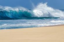 Ocean Waves Breaking On A Sand...