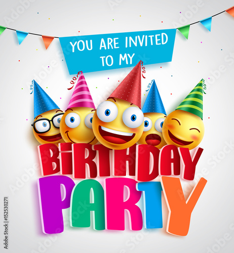 Birthday party invitation vector design with happy smileys wearing birthday party invitation vector design with happy smileys wearing colorful birthday hats in 3d text in stopboris Choice Image
