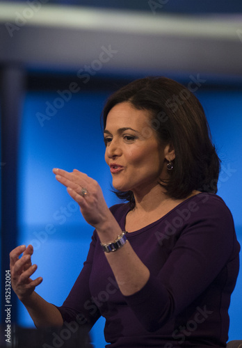 Facebook COO and author Sheryl Sandberg speaks during an