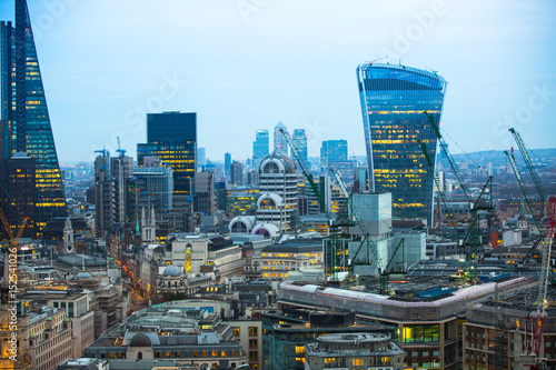 Keuken foto achterwand Seoel City of London business aria view at sunset. City of London the leading financial centre in the Europe.